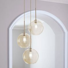 Sculptural Glass 3-Light Globe Chandelier - Clear | west elm