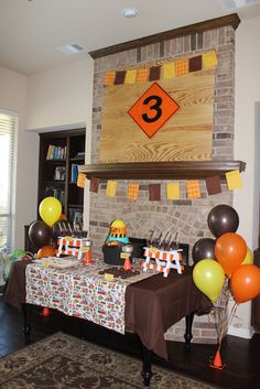 tablescape - colors orange, yellow, brown, construction cones and sawhorses. Paint picnic tables the colors of the saw horses!