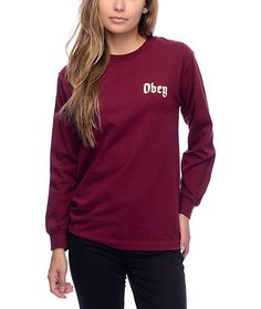 Your favorite relaxed t-shirt now comes in a long sleeve t-shirt! The Ole burgundy long sleeve t-shirt from Obey features a white and gold Obey text logo on the left chest and is made from lightweight cotton to keep you feeling fresh all day.