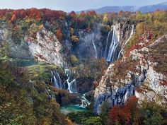 Travel Tuesday....Falls in Autumn, Plitivice Lakes National Park, Croatia  This is the country's oldest and largest National Park, which boasts 16 terraced lakes, formed by natural travertine dams that change color throughout the day. This photo was taken by Vedrana Tafra Photography #Croatia