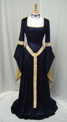 Fabulous elven style gown handmade by me for you to fit you perfectly - made in your measurements    the gown is in a midnight blue crushed