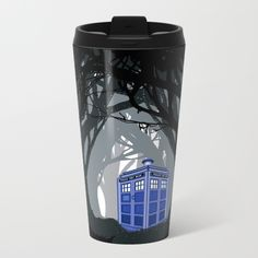 Tardis doctor who lost in the woods METAL TRAVEL MUG #metal #travelmug #tardis #DoctorWho #lostinthewood #vangogh #thedoctor #davidtennant #publiccallbox