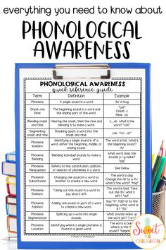 What is phonological awareness? It is an important key to teaching students how to read! Learn more about how it relates to phonemic awareness and phonics, and how you can help your students succeed. Includes free reference guide! #phonologicalawareness #kindergarten #firstgrade Teaching Phonics, Phonics Activities, Teaching Kindergarten, Preschool Learning, Teaching Kids, Kindergarten Freebies, Teaching Resources, Phonemic Awareness Kindergarten, Phonological Awareness Activities