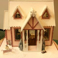 """Dollhouses and Scenes From the Spring 2011 Seattle Dollhouse Miniature Show: Front view of """"Sugar Plum Cottage"""" a 1:12 scale """"glitter house"""" by Joane Forsstrom"""