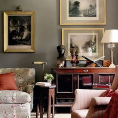 Drawing Room Sideboard - Emma Burns' Converted Stable Block, dark walls, rug on carpet, brass frame, living room. Traditional Interior, Classic Interior, Traditional House, Home Interior Design, Interior Livingroom, Interior Designing, Contemporary Interior, Luxury Interior, Traditional Design