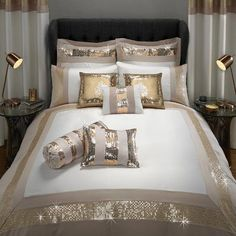 NEW KALEIDOSCOPE HOME  LAILA  SILVER BED SPREAD Decorative Quilts & Bedspreads Double RRP £45