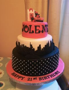 Glamour NY skyline birthday cake