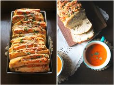 Herb And Cheese Pull-Apart Bread / Roasted Tomato And Carrot Soup