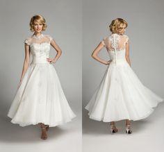 High Neck Ankle Length Wedding Dress