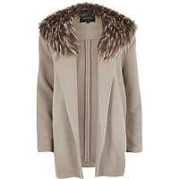 Grey faux fur collar textured jersey jacket  I just love big coats this winter!