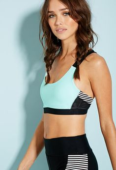 Medium Impact - Colorblocked Stripe Sports Bra - Shop All - 2000131513 - Forever 21 EU Dance Outfits, Sport Outfits, Sport Fashion, Fitness Fashion, Women's Dresses, Sports Bra Outfit, Forever 21, Ralph Lauren, Women's Sports Bras