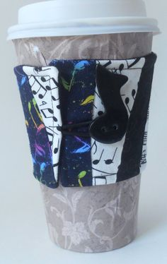 Patchwork Music Notes Reusable Coffee Cozy on Etsy, $5.50