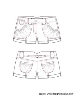 Short Shorts with Balloon Pockets and Center Back Waist Tab Fashion Sketch V1