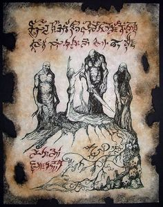 cthulhu Children of the Witch Necronomicon page occult by zarono, $10.00