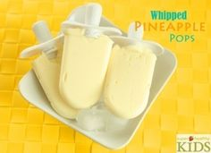 Whipped Pineapple Pops: 2-20 oz cans crushed pineapple or 1 large fresh cut into chunks; juice of 1 lime; 1.5 c cream (or almond or coconut milk). Blend pineapple and lime until frothy. Combine with cream. Freeze.