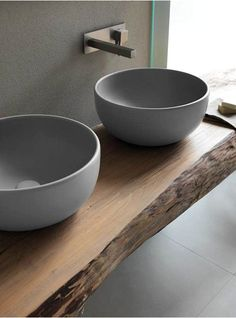 Love that wooden bathroom top! Suits these sinks ver well 'Terre di Cielo' Natural Bathroom, Bathroom Taps, Wooden Bathroom, Bathroom Furniture, Small Bathroom, Modern Furniture, Bathroom Grey, Industrial Bathroom, Grey Interior Design