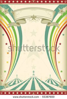 stock vector : rainbow circus vintage poster. A retro circus background for a poster with two rainbows.