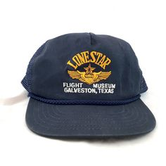 Lone Star Flight Museum Trucker Style Hat, Navy Mesh Back Cap, Airplane Baseball Snapback Cap, Flight Aviation Airplane Galveston Texas