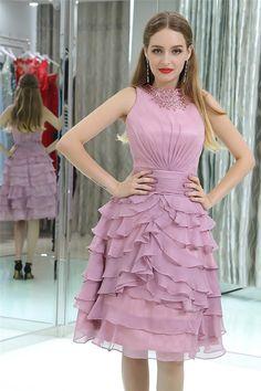 High Neck Lilac Chiffon Ruffle Layered Short Prom Dress Lilac Prom Dresses, Prom Dresses 2018, Prom Dresses For Sale, Chiffon Ruffle, Ruffle Dress, Short Prom, Layers, Events, Formal