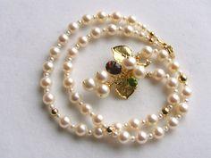 Gregory Pyra Piro Collier Broche en Or 750 avec Perles, Tourmaline Rose, et Péridot