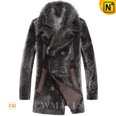 CWMALLS® Des Moines Shearling Fur Leather Coat CW868006 - Stylish shearling fur leather coat for men with supple fox fur collar, classic double breasted design, lined with 100% polyester, quite comfy and warm for winter wearing. As a Custom Leather Coats Expert, CWMALLS® offers custom made service to this fur leather coat, you can buy it trustingly.