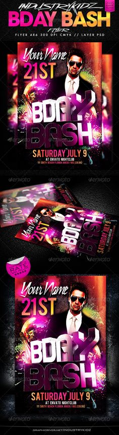 Birthday Party Flyer Super Easy. add your own picture your name and date, address and years your celebrating and done. =) Layered PSD , Well organized in folders Print ready 46 with bleed 300dpi CMYK All Free Font download links included. All text can be edited NOTE The Center text (BDAY BASH) is 3D Render not editable. 3D renders On the Bac
