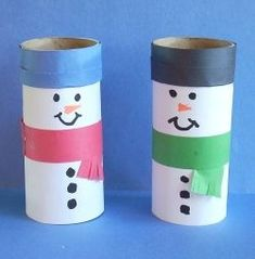 Toilet paper roll snowmen - Re