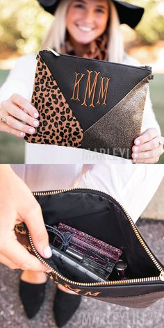 Make a statement with this Leopard Crossbody! With a glitter, leopard and black faux leather patch, this monogrammed clutch is the perfect accessory for any animal print lover. Be sure to check out our matching Monogrammed Leopard Duck Boots!