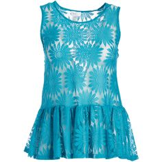 Bellino Blue Floral Crochet Tank ($13) ❤ liked on Polyvore featuring plus size women's fashion, plus size clothing, plus size tops, plus size, long layering tanks, crochet tank tops, floral tank top, plus size long tank tops and plus size peplum top