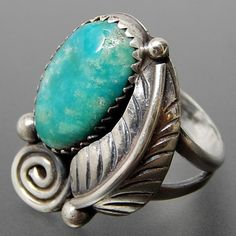 Native American Turquoise Saw Tooth Setting Ridged Leaf & Wind Swirl D – Gold Stream Boutique