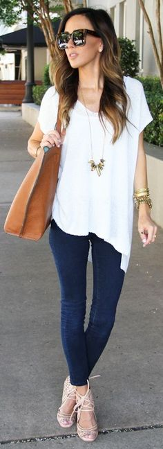 White tee + nude lace ups.