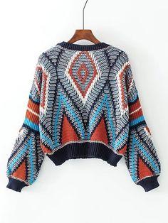 42b7e7fd70b093 Geometric Pattern Loose Sweater -SheIn(Sheinside) Loose Sweater