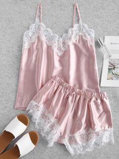 Product Contrast Lace Satin Cami Pajama Set available for Zaful WW, get it now ! Satin Pyjama Set, Satin Pajamas, Pajama Set, Pyjamas, Look Kim Kardashian, Cute Sleepwear, Sleepwear Women, Womens Pyjama Sets, Satin Cami