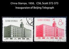 1958,C56, Scott 372-373  Inauguraion of Beijing Telegraph
