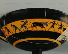 Agricultural scene: ploughing and sowing. Black-figured cup with painted ribbon, around 525 BCE F 77 Louvre, Departement des Antiquites Grecques/Romaines, Paris, France