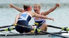 Katherine Copeland and Sophie Hosking of Great Britain celebrate winning gold in the women's Lightweight Double Sculls final on Day 8 of the London 2012 Olympic Games at Eton Dorney Women's Rowing, Rowing Crew, Rowing Memes, Rowing Quotes, Rowing Team, Indoor Rowing, Olympic Team, Olympic Games, Sport