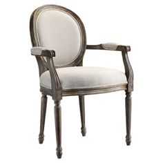 Perfect for your office or parlor, this Louis-style Chinese walnut wood arm chair features a round back and neutral upholstery.     Produ...