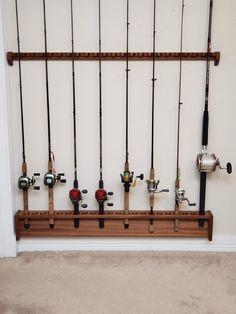 Fishing Pole Holder, Pole Holders, Fishing Rods, Pool Cues, Guitar Hanger, Fishing Gifts, Diy Garage, Wall Mount, Barn Wood