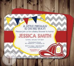 Fireman BABY SHOWER Invitation Fire fighter shower by T3DesignsCo, $12.99