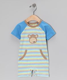 Blue Stripe Monkey Organic #Romper by My O Baby on #zulily
