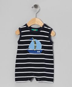 Take a look at this Navy Stripe Sailboat Romper - Infant by Sweet Teas Children's Boutique on #zulily today!