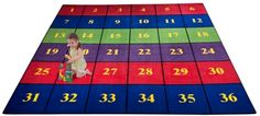Classroom Seating Rug With 36 Squares BRIGHT