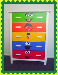 Turning an ordinary dresser into a colorful animated dresser is child's play with this tutorial.