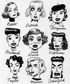 vintage celebrity caricatures