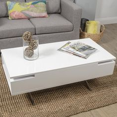 Enjoy exclusive for MIX High Gloss Lacquer Wood Stainless Steel Legs White Lift-Top Rectangular Coffee Table Hidden Storage online - Greattopfurniture White Gloss Coffee Table, Coffee Table Rectangle, Lift Top Coffee Table, Cool Coffee Tables, Modern Coffee Tables, Contemporary Coffee Table, Contemporary Furniture, Modern Contemporary, Coffee Table With Hidden Storage