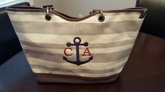 Love this style! Anchor monogram. Canvas Crew Tote
