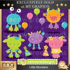 Little Monsters - Perfect Monsters for a Monster Bash.  These cute illustrations are perfect for invitations, tote bags, monogramming and more.