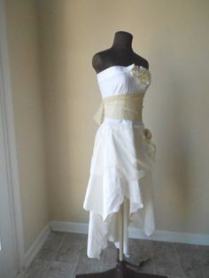Bohemian Pixie Wedding Dress Cotton Lace Tattered by Zephyranthia, $500.00