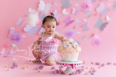 pink butterfly cake smash, tulle balls, floral cake smash, cupcake, girly cake smash, first birthday © Dimery Photography 2013