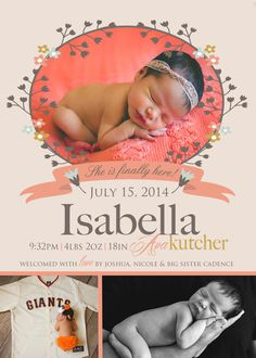 She is finally here  BABY GIRL Birth ANNOUNCEMENT  by babybaloo, $16.57